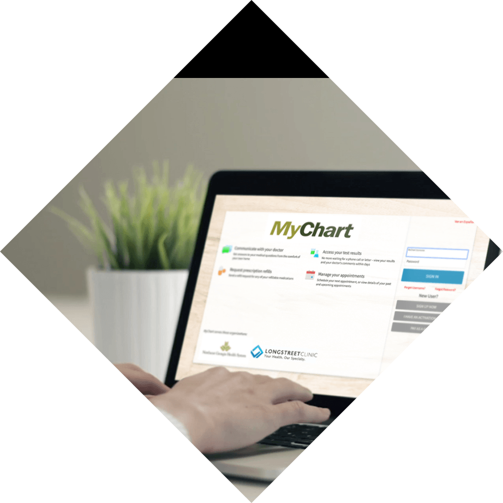 Longstreet Clinic is on MyChart Background Image
